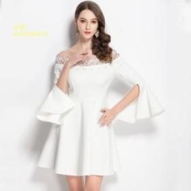 小さな白ドレス春と秋 2019 新ウエストトリミングショー肩飛行袖小さなドレスホワイトドレス女性