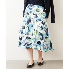 La Totalite フラワーペタルフレアスカート◆ ネイビー B 38