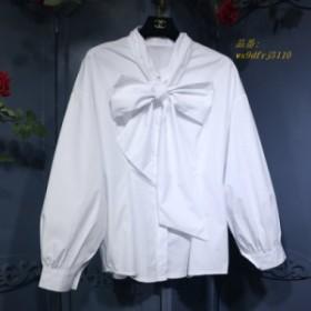 女性ブラウス固体弓 ランタンスリーブオフィスレディ 2019 新しい女性シャツ綿