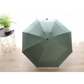 【お取り寄せ】折り畳み傘 無地 カラー 単色 持ち手ダイヤモンドカット シンプル 晴雨兼用 (グリーン)