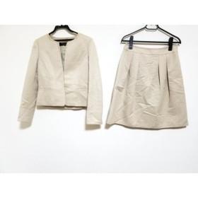 【中古】 ミッシェルクラン MICHELKLEIN スカートスーツ サイズ38 M レディース 美品 ベージュ 肩パッド