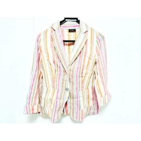 【中古】 シニョレティ SIGNORETTI ジャケット サイズ44 L レディース 美品 白 ピンク マルチ