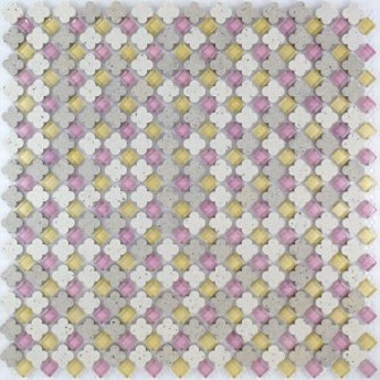 NEO パティスリー 花形 タイル ガラス モザイクタイル シート 30cm 裏ネット貼り KAR-10/PFM-12NG