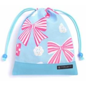 給食袋 巾着  アクアに揺れる大きなリボンコレクション ピンク 入園グッズ 入学グッズ きんち