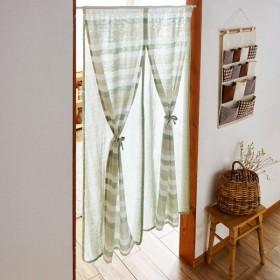 カーテン 安い おしゃれ のれん カフェカーテン インド綿で作ったナチュラルテイストの2重のれん カラー 「グリーン」