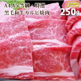 ギフト 【送料無料】A4,A5ランク特選黒毛和牛カルビ焼肉 250g【複数購入でオマケ付】