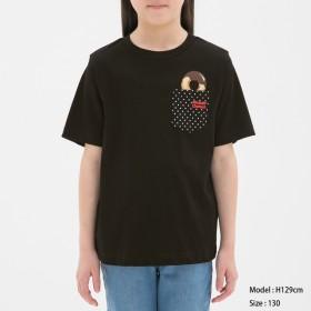 (GU)GIRLSTシャツ(半袖)Mister Donut1 BLACK 150