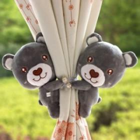 【お取り寄せ】カーテンタッセル ぬいぐるみ風 お鼻がハートのクマ お腹に刺繍 パール風ボタン 2個セット (横向き×グレー)