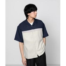 【61%OFF】 センスオブプレイス ブロックドオープンカラーシャツ(5分袖) メンズ NAVY M 【SENSE OF PLACE】 【セール開催中】