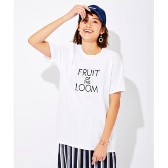 FRUIT OF THE LOOM ロゴプリントTシャツ レディース ホワイト