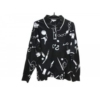 【中古】 レオナール LEONARD 長袖ポロシャツ サイズL レディース 黒 グレー SPORT