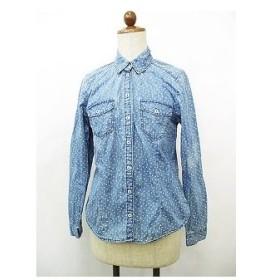 エイチ&エム H&M シャツ ブラウス 長袖 2ポケット ドット ハート インディゴ ホワイト 白 40