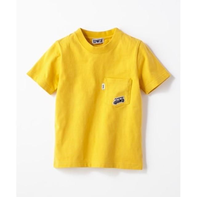 EDWIN ワンポイントTシャツ キッズ イエロー