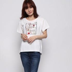 ジーラバイリュリュ GeeRA by RyuRyu レディシルエットデザインTシャツ (刺しゅう×ホワイト)