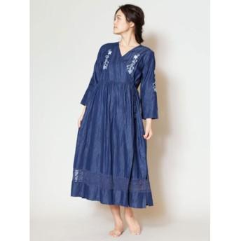 【Kahiko】フラワー刺繍ダンガリーロングカーディガン ダークブルー