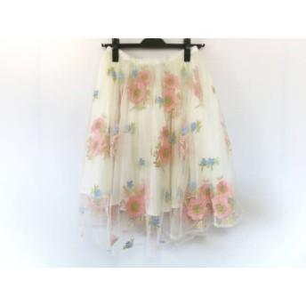 【中古】 リリーブラウン スカート サイズF レディース アイボリー ピンク マルチ フラワー/刺繍