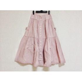 【中古】 ピンクハウス PINK HOUSE ロングスカート レディース ピンクベージュ 白 チェック柄/リボン