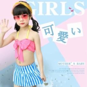 キッズ 水著 ジュニア 女の子 上下セット 2點セット セパレート 短パンツ 子供用 トップス+パンツ