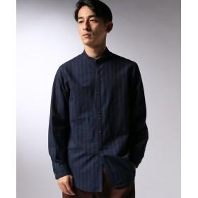 【40%OFF】 エディフィス LA BOUCLE / ラブークル コットンウール ストライプ バンドカラーシャツ メンズ ブルー 44 【EDIFICE】 【セール開催中】