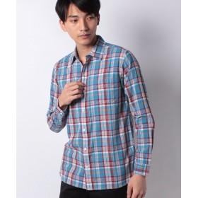 【50%OFF】 メラン クルージュ マドラスタイニーカラーシャツ メンズ サックス M 【Melan Cleuge】 【セール開催中】