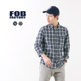 FOB FACTORY (FOBファクトリー) F3427 インディゴ チェック ボタンダウンシャツ / シャツ / 長袖 / B.Dシャツ / メンズ /