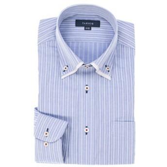 【TAKA-Q:トップス】形態安定レギュラーフィット2枚衿ドゥエボットーニボタンダウン長袖ビジネスドレスシャツ