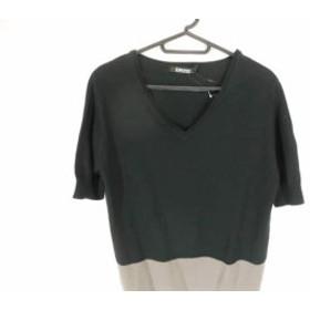 ダナキャラン DKNY ワンピース サイズS レディース 美品 黒×アイボリー×グレージュ ニット【中古】