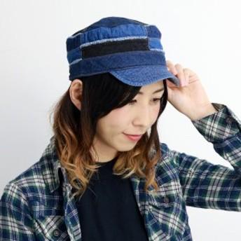 ワークキャップ レディース デニム リバーシブル キャップ パッチワーク 帽子 8オンス 6オンス