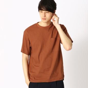 コムサイズム COMME CA ISM リネン ハイパワーストレッチ Tシャツ (オレンジ)