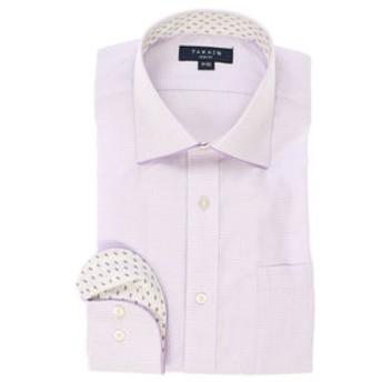 【TAKA-Q:トップス】形態安定スリムフィット ワイドカラーパイピング長袖ビジネスドレスシャツ