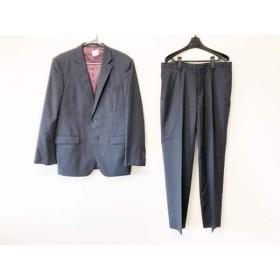 【中古】 ムッシュニコル monsieur NICOLE シングルスーツ サイズ52 メンズ 黒 ネイビー ストライプ