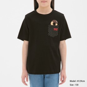 (GU)GIRLSTシャツ(半袖)Mister Donut1 BLACK 140