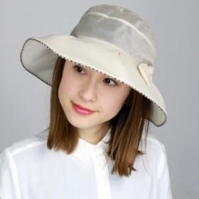 ハット レディース UVカット帽子 春夏 DAKS 帽子 オーガンジー リボン 麻 UVカット ダックス つば