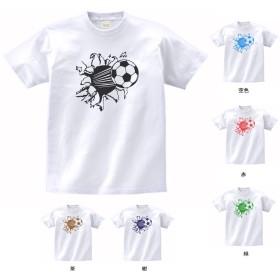 おもしろ Tシャツ 突き抜けるサッカーボール 白 MLサイズ