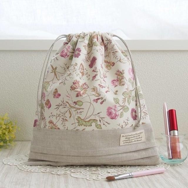 【リバティ ガーデン】 〔限定1〕巾着袋 25×29 貴重品入れ/出産祝い/おむつポーチ