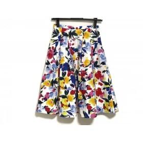 【中古】 チェスティ Chesty スカート サイズ0 XS レディース 白 レッド マルチ 花柄