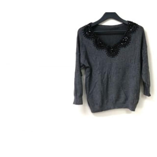 【中古】 グレースコンチネンタル 長袖セーター サイズ36 S レディース グレー 黒 ビーズ/スパンコール