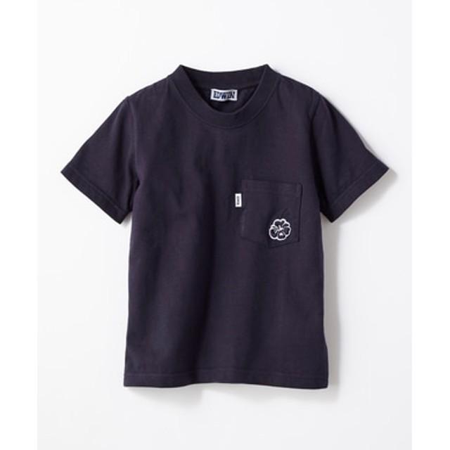 EDWIN ワンポイントTシャツ キッズ ネイビー