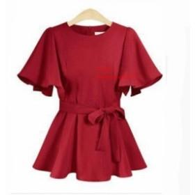 大サイズ 女性 ブラウスフリルオフィス 2019 新ウエストスリム気質固体 o ネック襟夏 夏 女性シフォンシャツ