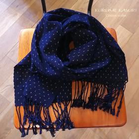 プレゼントに「久留米絣ストール」藍染手織り 十字52立 (ks-36)