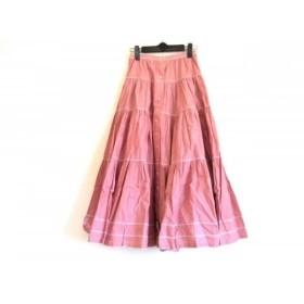 【中古】 ピンクハウス PINK HOUSE ロングスカート レディース 美品 レッド 白 チェック柄/リボン