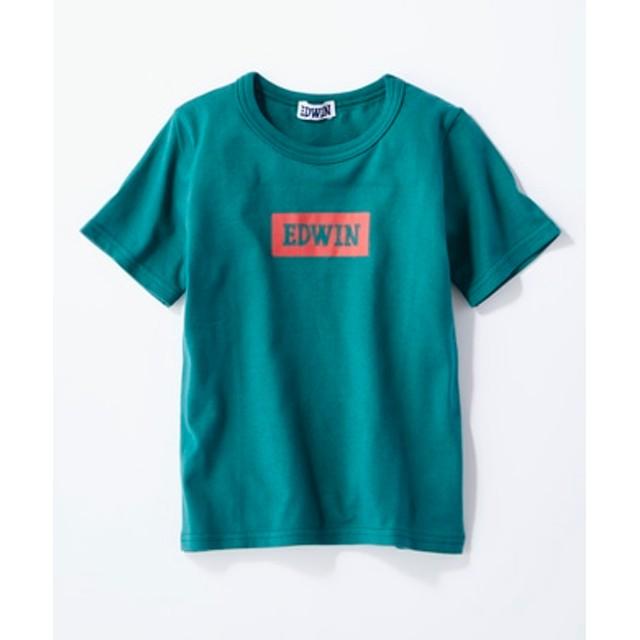 EDWIN ボックスロゴTシャツ キッズ グリーン