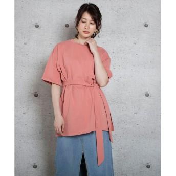 ジュエローブ Jewelobe ベルト付きビッグシルエットTシャツ (ピンク)