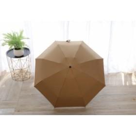 【お取り寄せ】折り畳み傘 無地 カラー 単色 持ち手ダイヤモンドカット シンプル 晴雨兼用 (ベージュ)