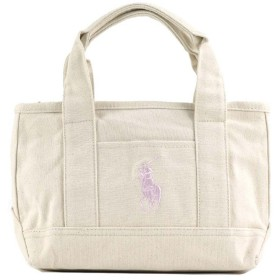 ポロラルフローレン POLO RALPH LAUREN MEDIUM TOTE (NATURAL CANVAS W/LT PINK PP)