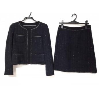 【中古】 アナイ ANAYI スカートスーツ サイズ38 M レディース ネイビー 黒 ツイード/ラメ