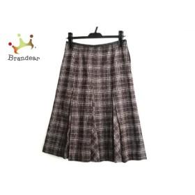 ボンサンス Bon Sens スカート サイズ38 M レディース ダークブラウン×白 チェック柄     スペシャル特価 20190801