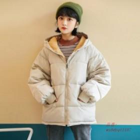 冬 新フード付きパンコート 女性ミディアム 長さ 緩いと素敵な繭型 韓国ガール 綿パッド入り 服。