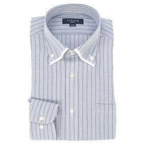 【TAKA-Q:トップス】形態安定スリムフィット2枚衿ドゥエボットーニボタンダウン長袖ビジネスドレスシャツ