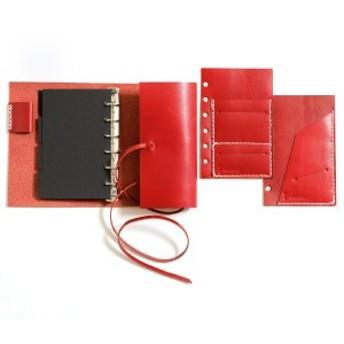 KAKURA システム手帳 ミニ6穴 レッド LS017RDW